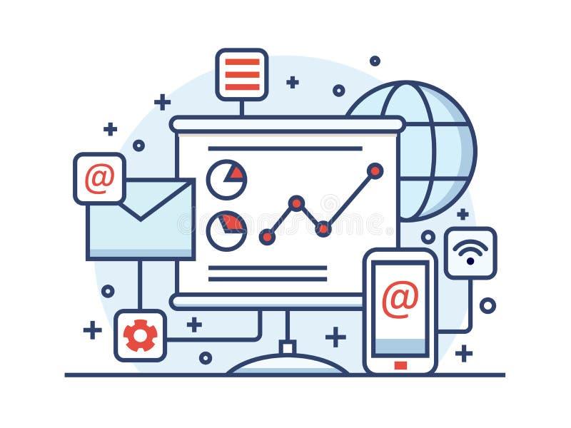 Internet marketing line style. Business web, online media network, technology advertising, vector illustration vector illustration