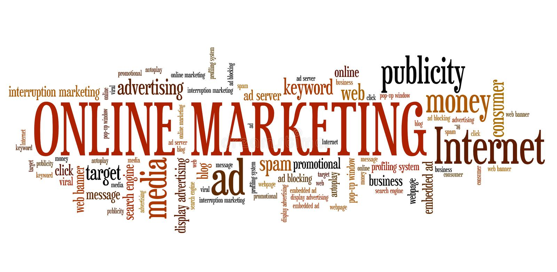 Internet marketing. Online marketing - internet concepts word cloud illustration. Word collage vector illustration