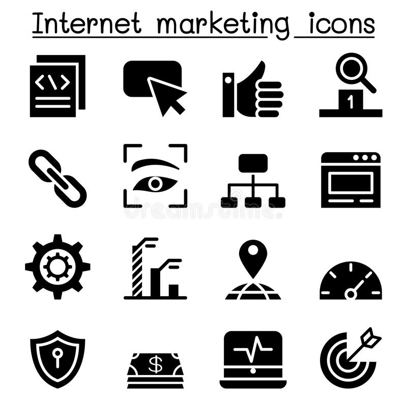 Internet Marketing. & SEO icon Set Vector illustration Graphic design royalty free illustration