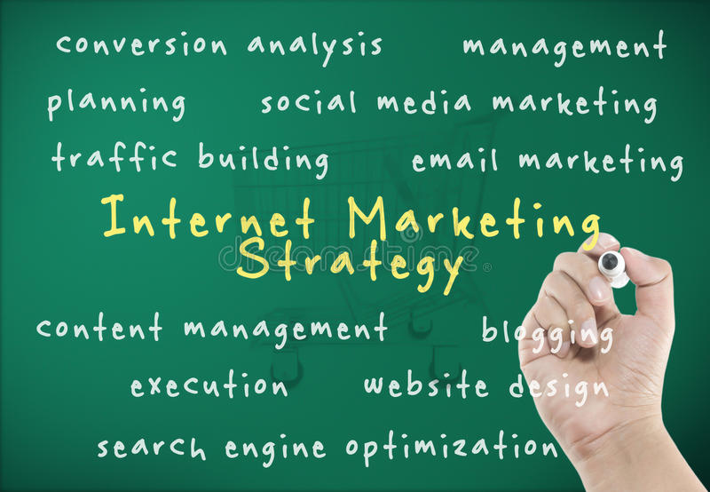 Internet marketing strategy. With hand writing stock photography