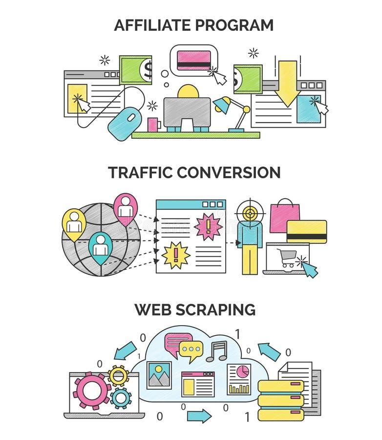 Internet Marketing- und seoillustrationen lizenzfreie abbildung