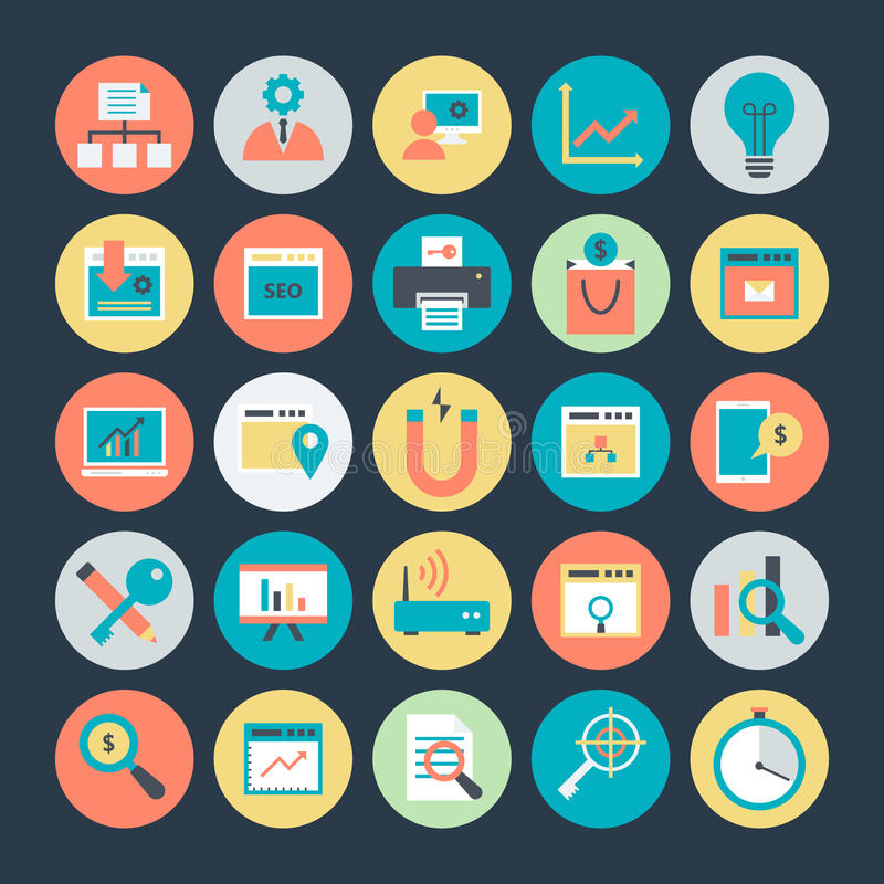 Internet Marketing and Web optimization Vector Icons 3. Here is useful and trendy Internet Marketing and Web optimization, Hope you can find a great use for them royalty free illustration