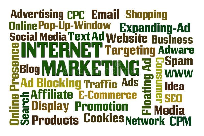 Internet Marketing. Word cloud on white background vector illustration