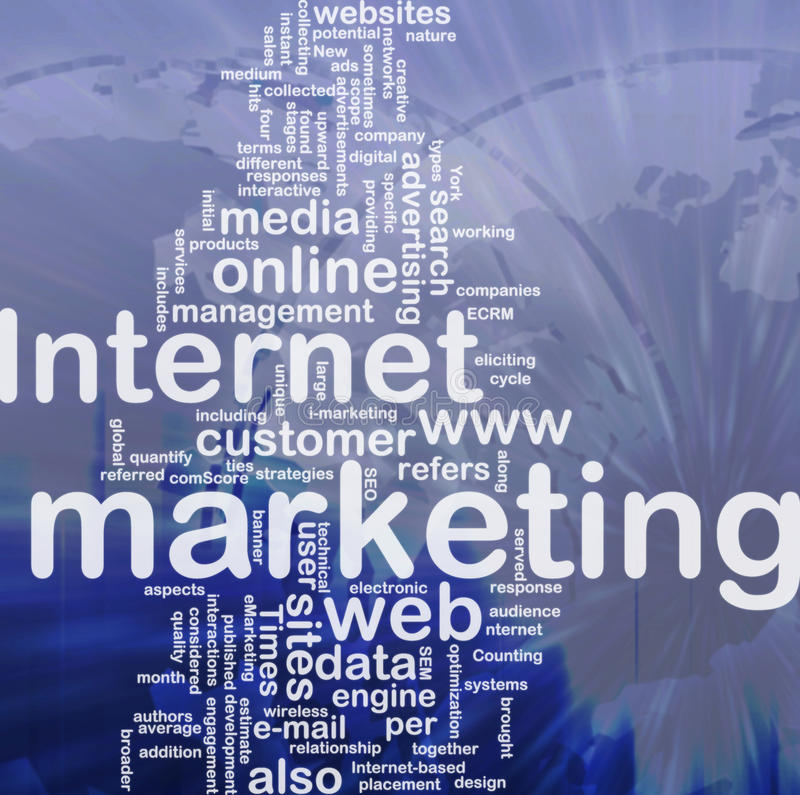 Internet-Marketing-Wortwolke lizenzfreie abbildung