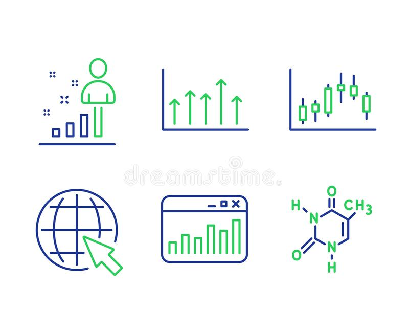 Internet, Marketingowe statystyki i Candlestick wykres ikony ustawiać, Wzrostowa mapa, znaki, Stats i Chemicznej formuły wektor royalty ilustracja
