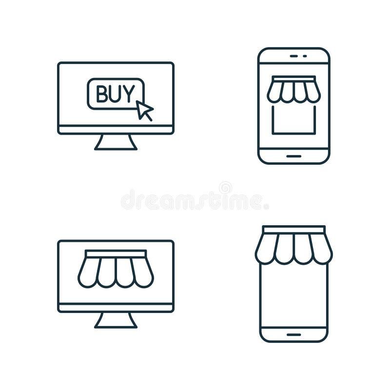 Internet-markt en de online die pictogrammen van de marktlijn op witte achtergrond wordt geplaatst stock foto