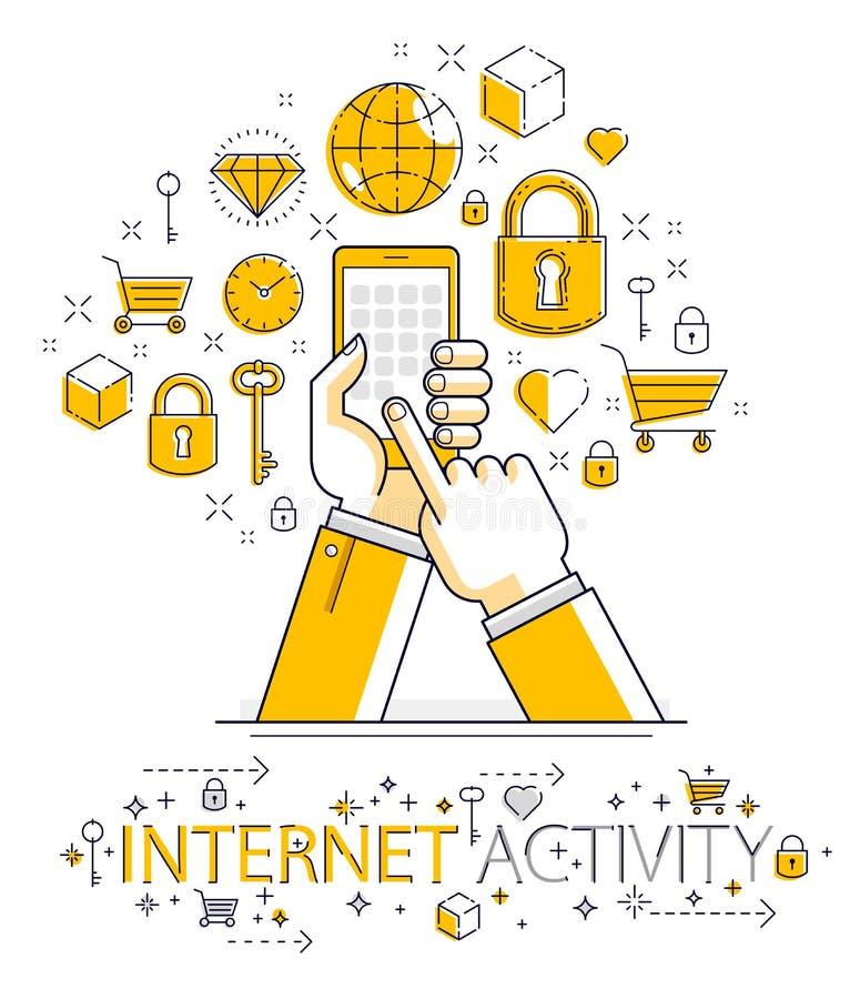 Internet-mededeling en activiteit, telefoons houden en mensenhanden die apps, mondiaal net, moderne mededeling, boodschapper gebr vector illustratie