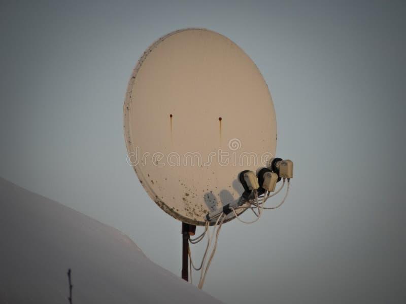 Internet-mededeling en de satellietdieschotel van TV op het dak van het huis bij groene bomenachtergrond wordt geïnstalleerd royalty-vrije stock afbeelding