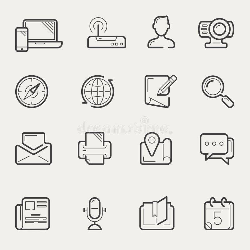 Internet-mededeling en de sociale media reeks van het lijnpictogram royalty-vrije illustratie