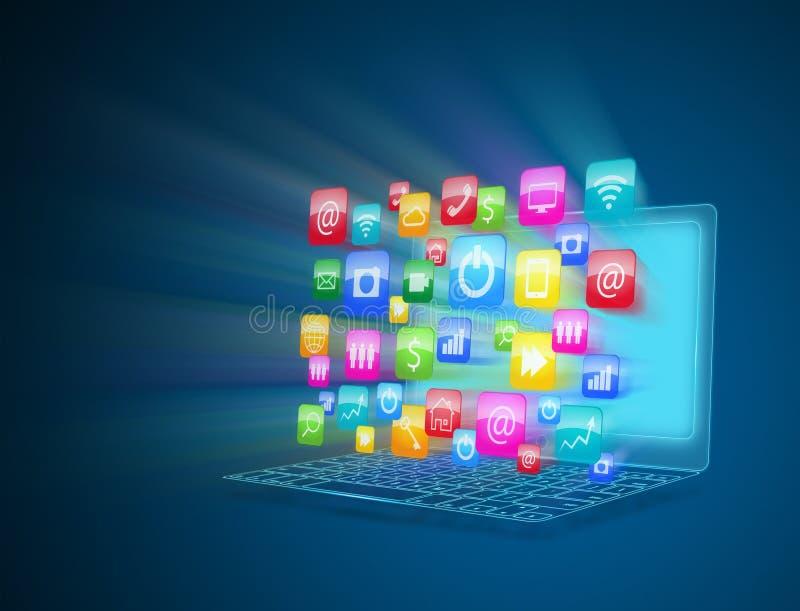Internet-mededeling en wolk gegevensverwerking vector illustratie