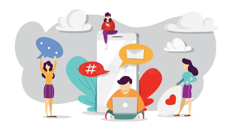 Internet-mededeling in sociaal netwerk Online radio royalty-vrije illustratie