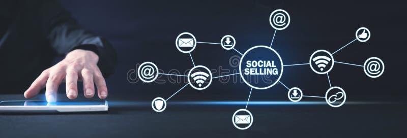 Internet, mededeling, technologie Concept het sociale verkopen royalty-vrije stock foto's