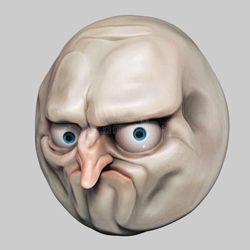 Internet meme No. Rage face 3d illustration. Isolated royalty free illustration