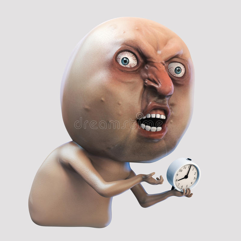 Free Internet Meme Why You No Wake Me Up. Rage Face 3d Illustration Royalty Free Stock Images - 79690759