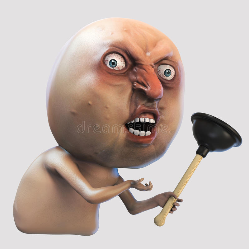Free Internet Meme Why You No With Plunger. Rage Face 3d Illustration Royalty Free Stock Images - 79689859