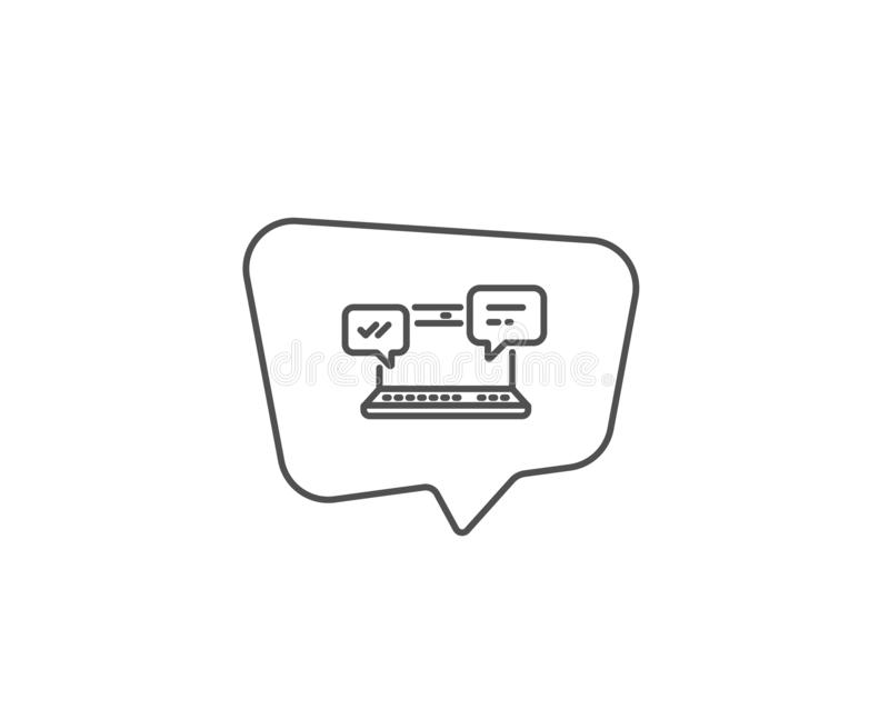 Internet Messages icon. Chat or Conversation. Vector. Internet Messages line icon. Chat bubble design. Chat or Conversation sign. Computer communication symbol royalty free illustration