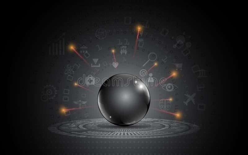 Internet metálico preto abstrato do projeto moderno da escuridão do molde da esfera do conceito da inovação das coisas ilustração royalty free