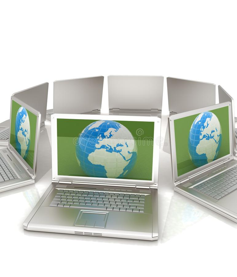 Internet, mondiaal net, computers rond bol vector illustratie