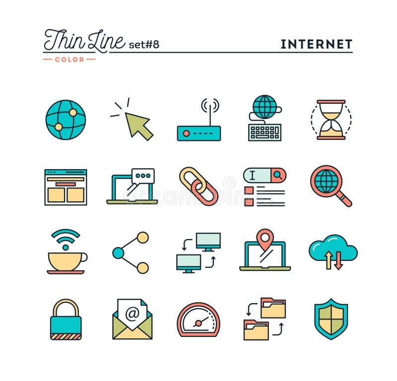 Internet, mondiaal net, wolk, vrij WiFi en meer, t die gegevens verwerken stock illustratie
