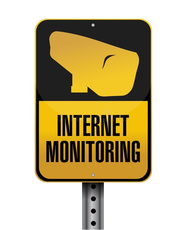 Internet monitoring road sign illustration vector illustration