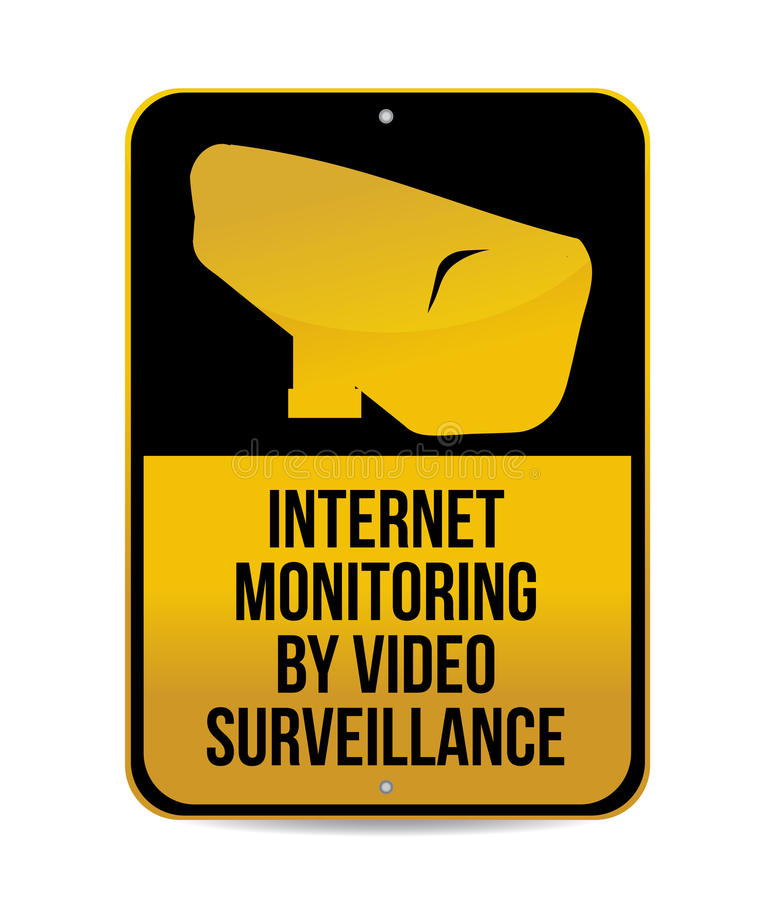 Internet monitoring by video surveillance sign vector illustration