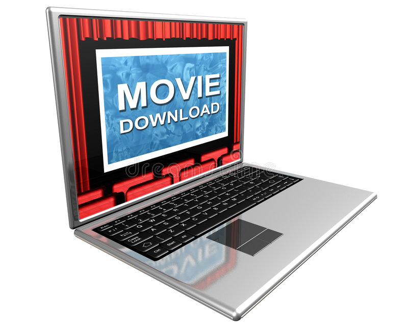 Internet movies. Isolated illustration of a laptop showing movie downloads over the Internet vector illustration
