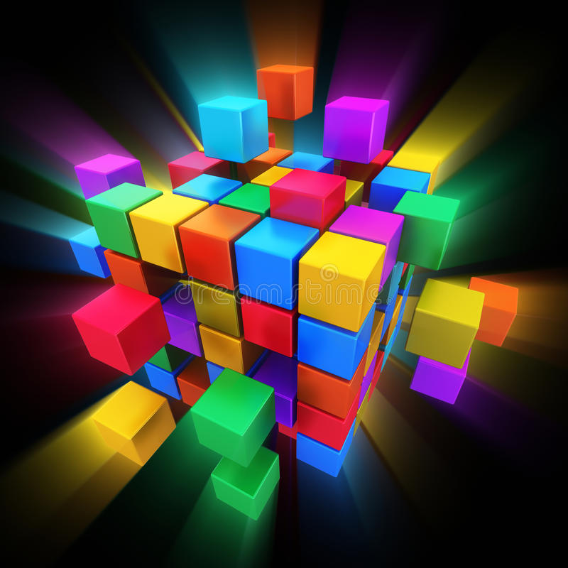 Internet, multimedia and communication concept. Creative abstract business teamwork, internet, multimedia and communication concept: colorful cubic structure stock illustration