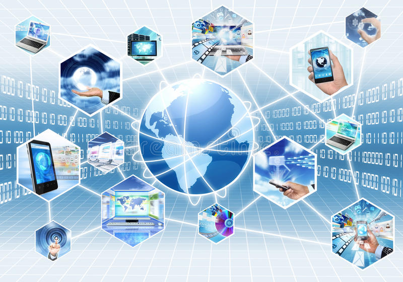 Internet and Multimedia. Internet multimedia concept with all gadget and computers connected to each other royalty free illustration
