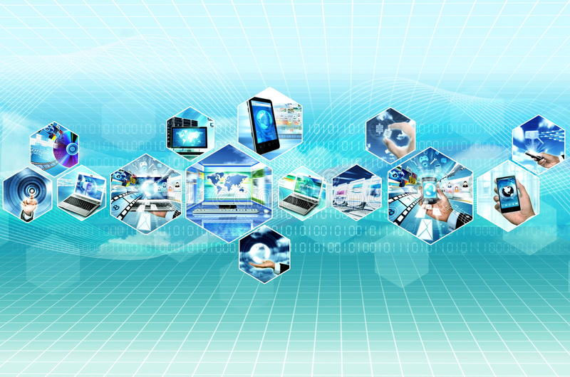 Internet and multimedia. Internet multimedia concept with all gadget and computers connected to each other stock illustration