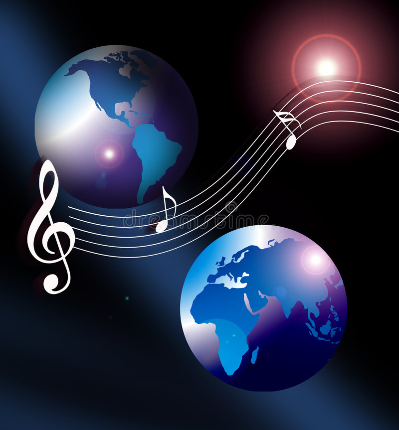 Internet music world cd. An image showing two globe against a background of a space lens flare with musical notes over the top of the world, internet music world vector illustration
