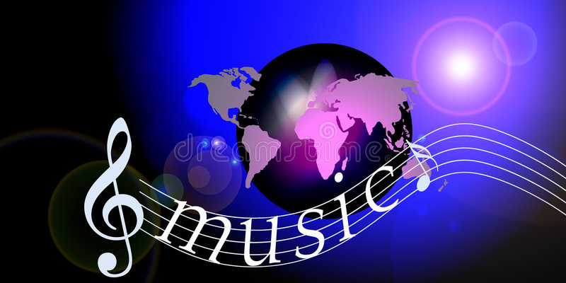 Internet music world notes. An image showing a world globe against a background of a space lens flare with musical notes and the letters music over the top stock illustration