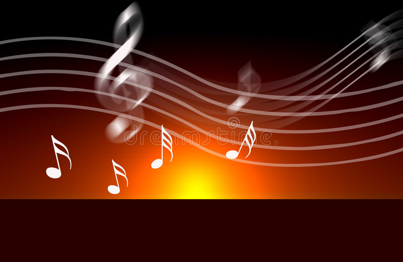 Internet music world notes. An image showing a musical dawn with musical notes over the top, internet music world royalty free illustration