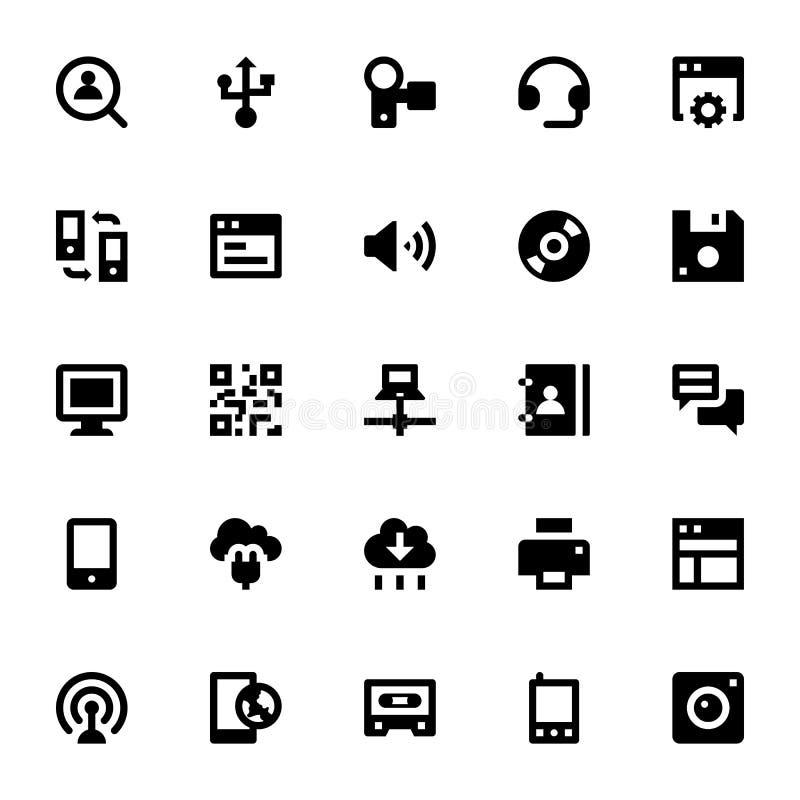 Internet-, nätverkande- och kommunikationsvektorsymboler 3 vektor illustrationer