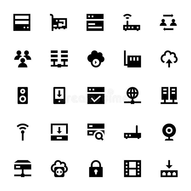 Internet-, nätverkande- och kommunikationsvektorsymboler 1 stock illustrationer