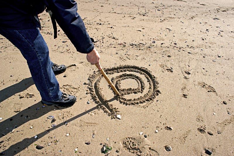 Internet nella sabbia immagini stock