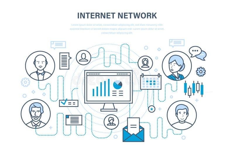 Internet-netwerk, mensen en sociaal netwerk, online veiligheid, de wolkendiensten royalty-vrije illustratie