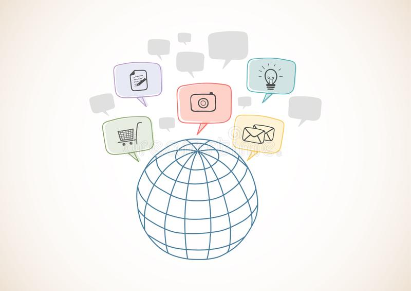 Internet-netwerk met pictogrammen, zakenrelatie Wereldwijd Hand getrokken stijlen vector illustratie