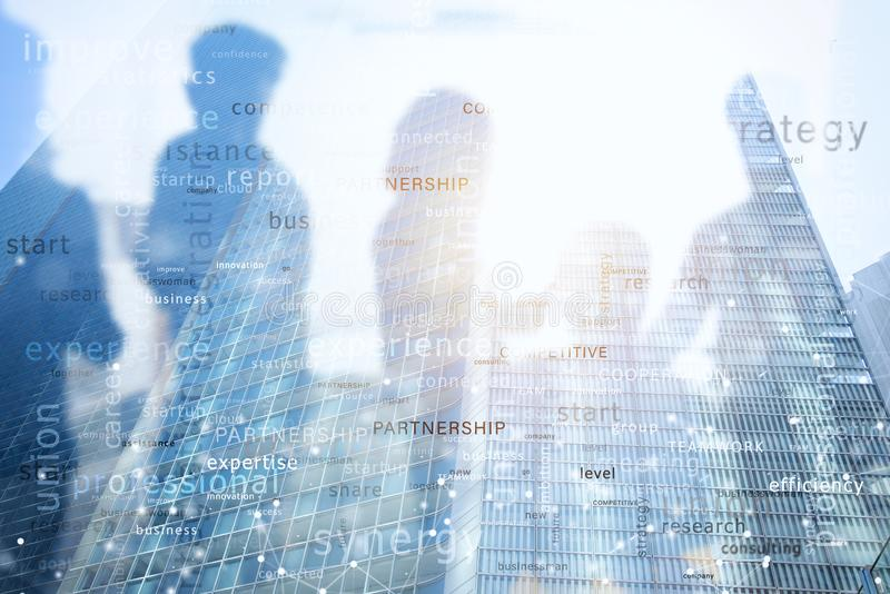 Internet network background with most important business terms. Double exposure stock photography