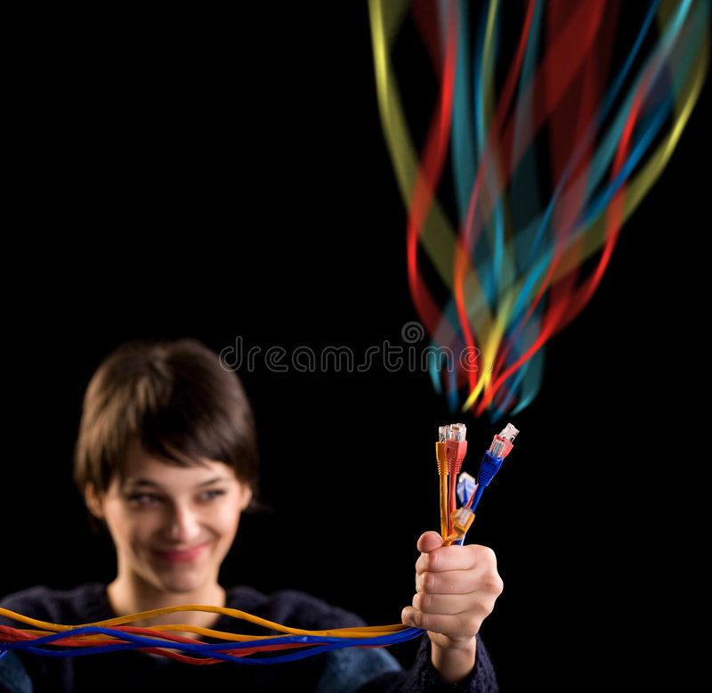 Internet network cables and girl stock photos