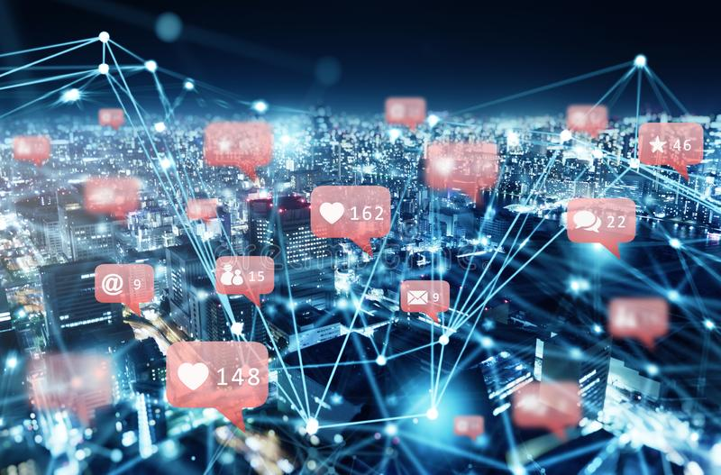 Internet network of a city with social network icon, heart, messages, emails. Internet network of a modern city with social network icon, heart, messages, emails royalty free stock images