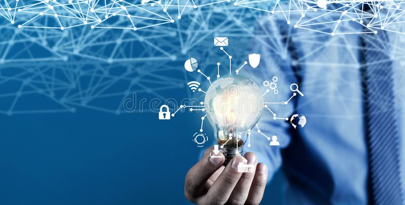 Internet network with creative light bulb. Business technology concept royalty free stock images