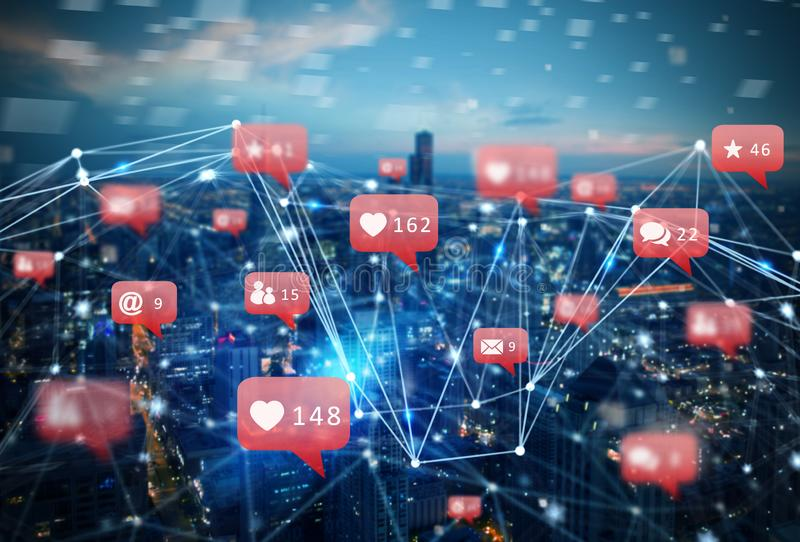 Internet network of a city with social network icon, heart, messages, emails. Internet network of a modern city with social network icon, heart, messages, emails stock photo
