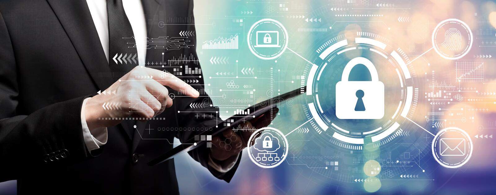 Internet network security concept with businessman stock photos