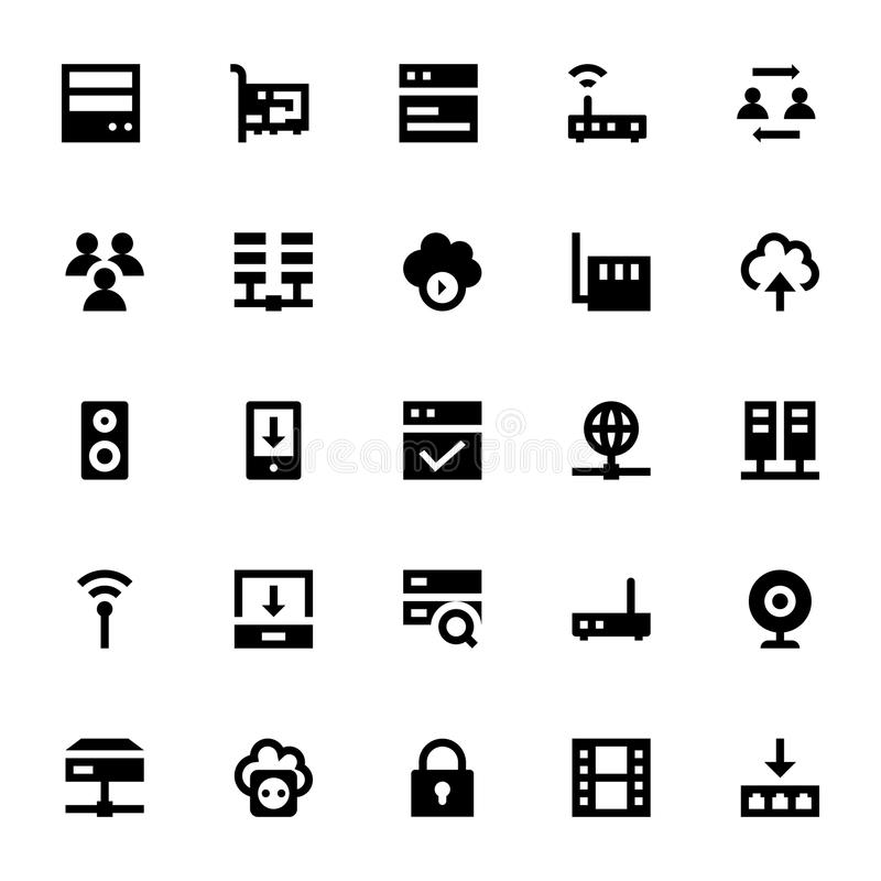 Internet, Networking and Communication Vector Icons 1 stock illustration