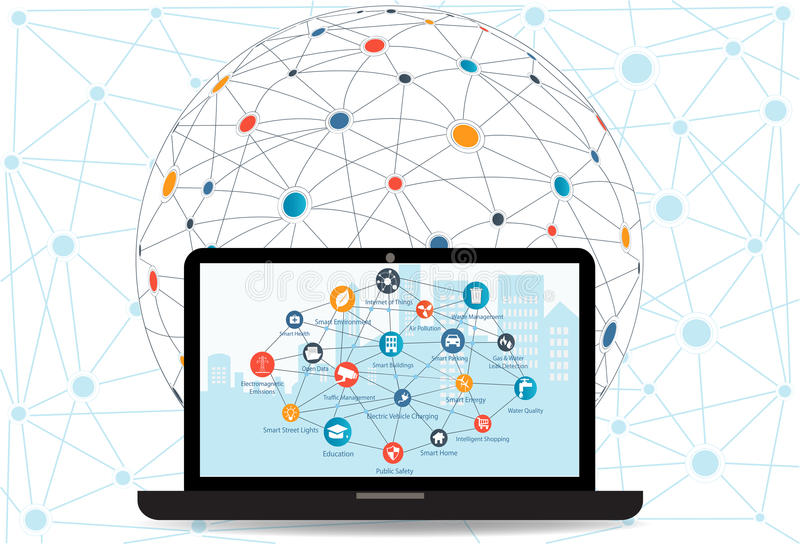 Internet networking concept and Cloud computing technology. Laptop with Smart city in background with different icon and elements.Internet of things/Smart city vector illustration