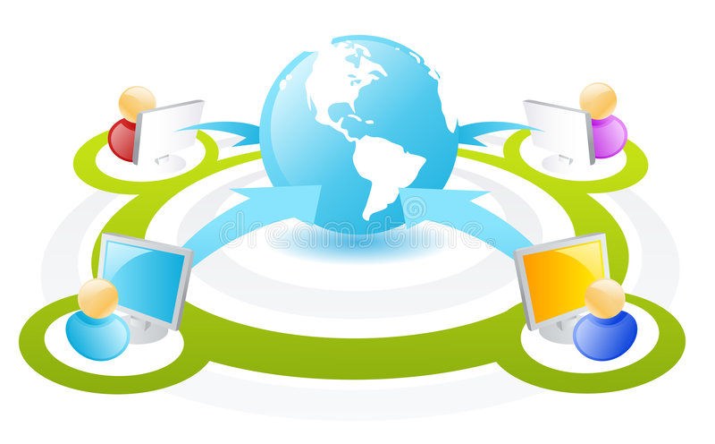 Internet Networking Scheme. Vector Illustration of people in internet network scheme vector illustration