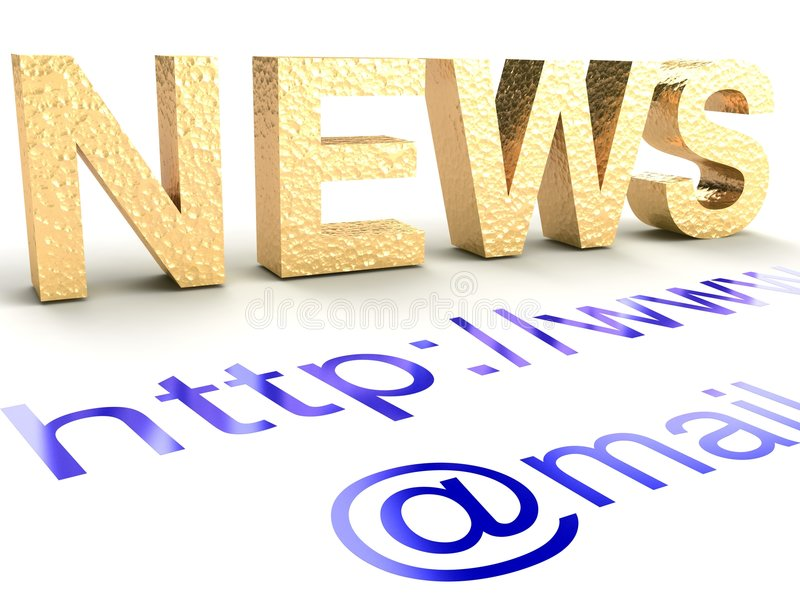 Internet news. The abstract text on a white background stock illustration