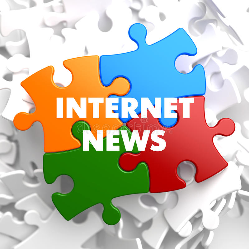 Internet News on Multicolor Puzzle. vector illustration