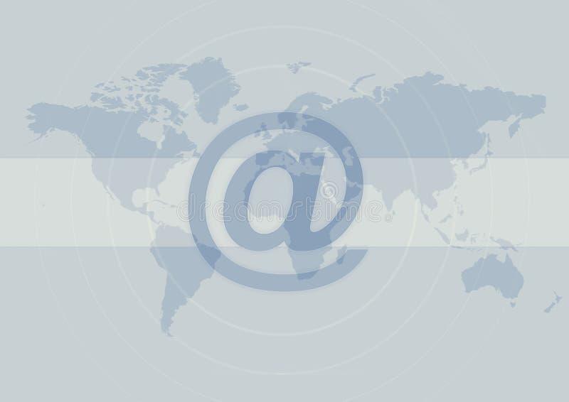 Internet no sinal no mapa de mundo ilustração do vetor