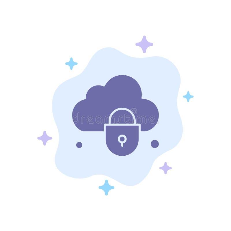 Internet, nuage, serrure, icône bleue de sécurité sur le fond abstrait de nuage illustration libre de droits